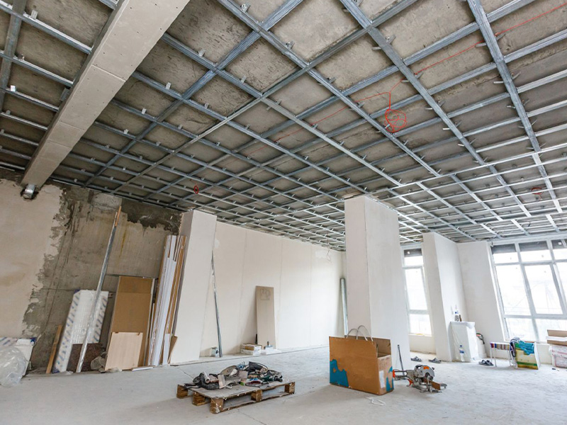 large interior in mid plasterboard installation