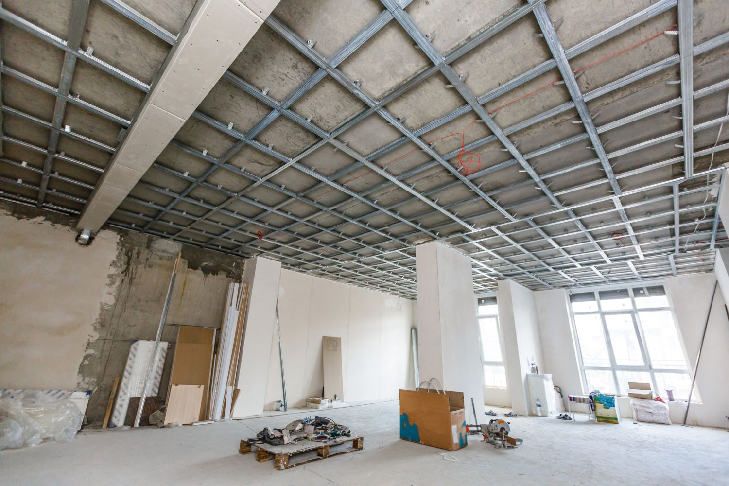 large interior in mid plasterboard installation 2