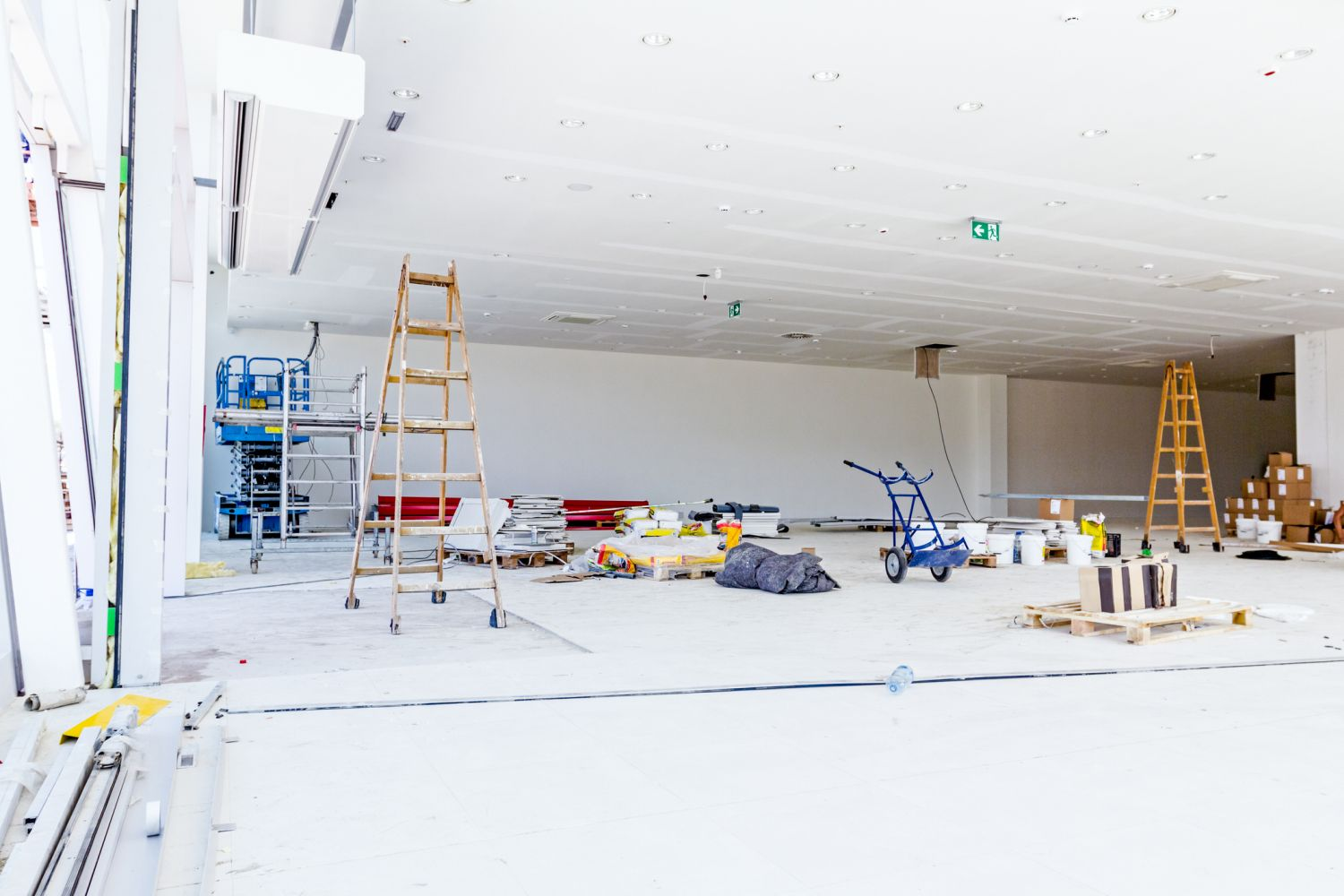 large interior in mid construction bright