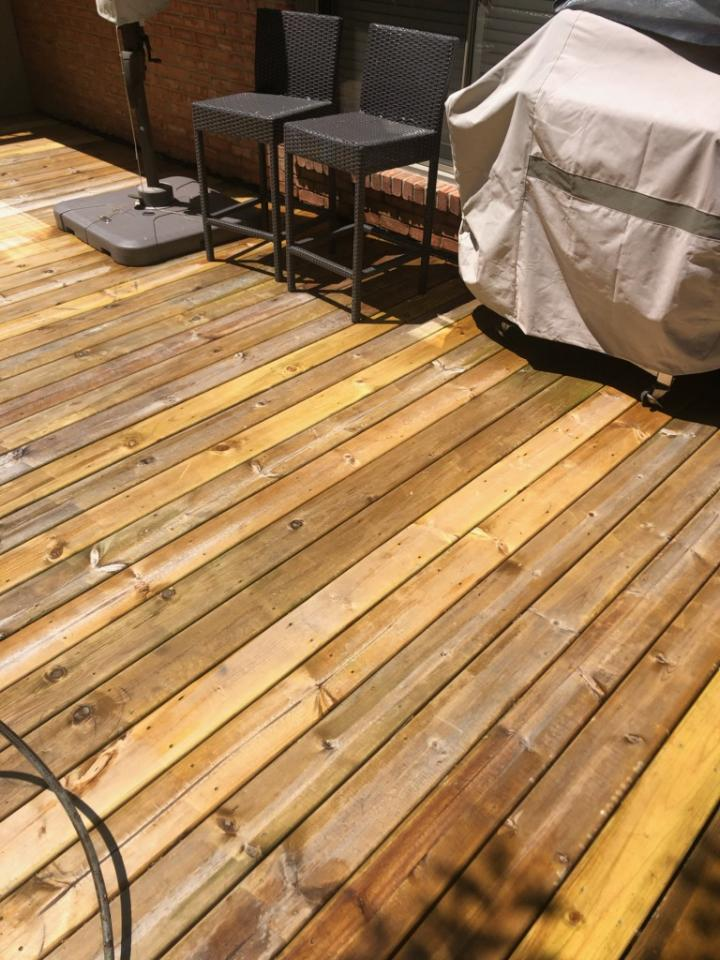 image of washed and repaired deck