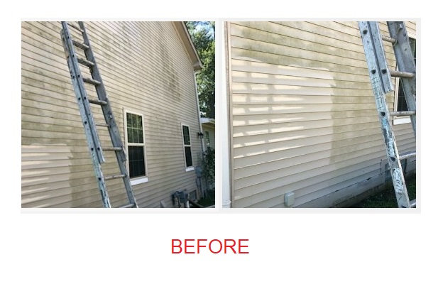 before power washing siding on house with ladder